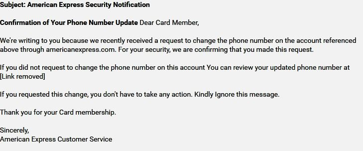 American Express Phishing Email Scam